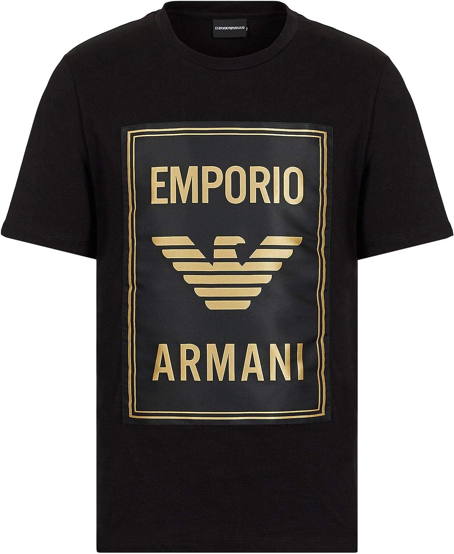 Armani Hombres Camiseta con el Logotipo del Maxi Parche del Cuello de la tripulación Negro XL: Amazon.es: Ropa y accesorios