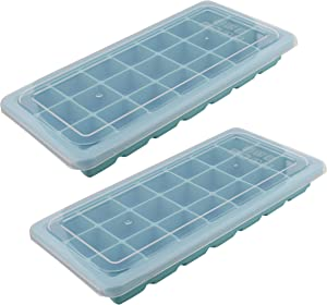 7Penn Silicone Ice Cube Mold 21 Cubes, Blue 2pk - Ice Tray Set Rubber Ice Cube Trays Flexible Ice Mold for Food, Drink