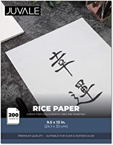 Juvale Rice Paper Sheets for Calligraphy and Decoupage (9.5 x 13 in., 200 Pack)