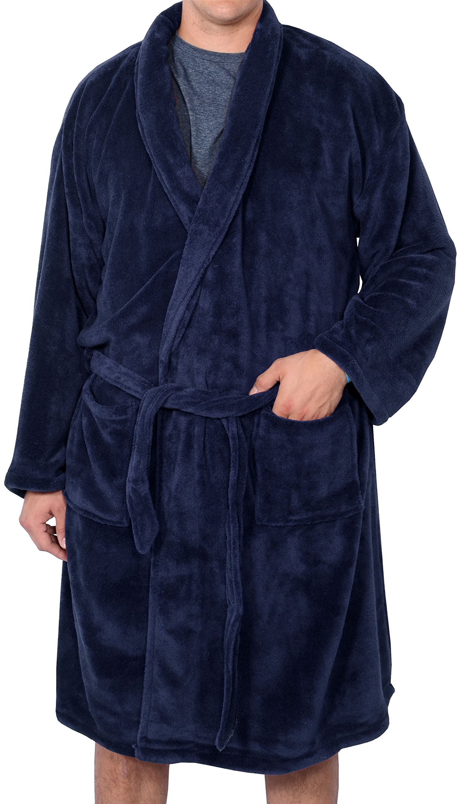 Foxfire Big and Tall Men's Plush Robe 5XL - 6BlueXL Navy