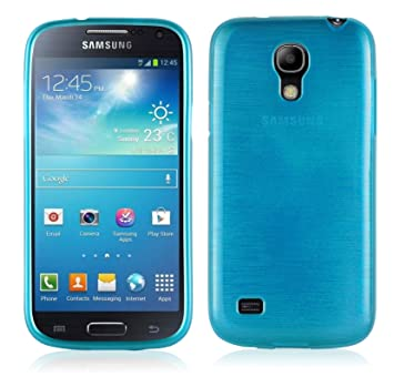 Cadorabo de de 104575 Samsung Galaxy S4 Mini (i9190) Funda Carcasa de TPU Silicona en Aspecto Acero Inoxidable Cepillado (Pulido), Color Turquesa