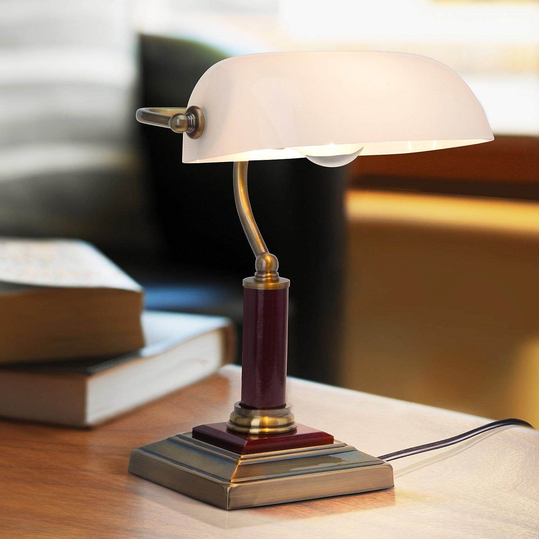 Elegante lámpara de banquero, lámpara de escritorio, con base de madera, 1x E27 max. 60W, metal/madera/vidrio, latón antiguo