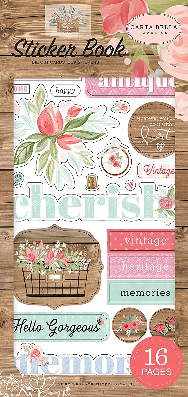 Woodgrain Cream Pink Carta Bella Paper Company CBFAR113029 Farmhouse Market Book Sticker Teal Black
