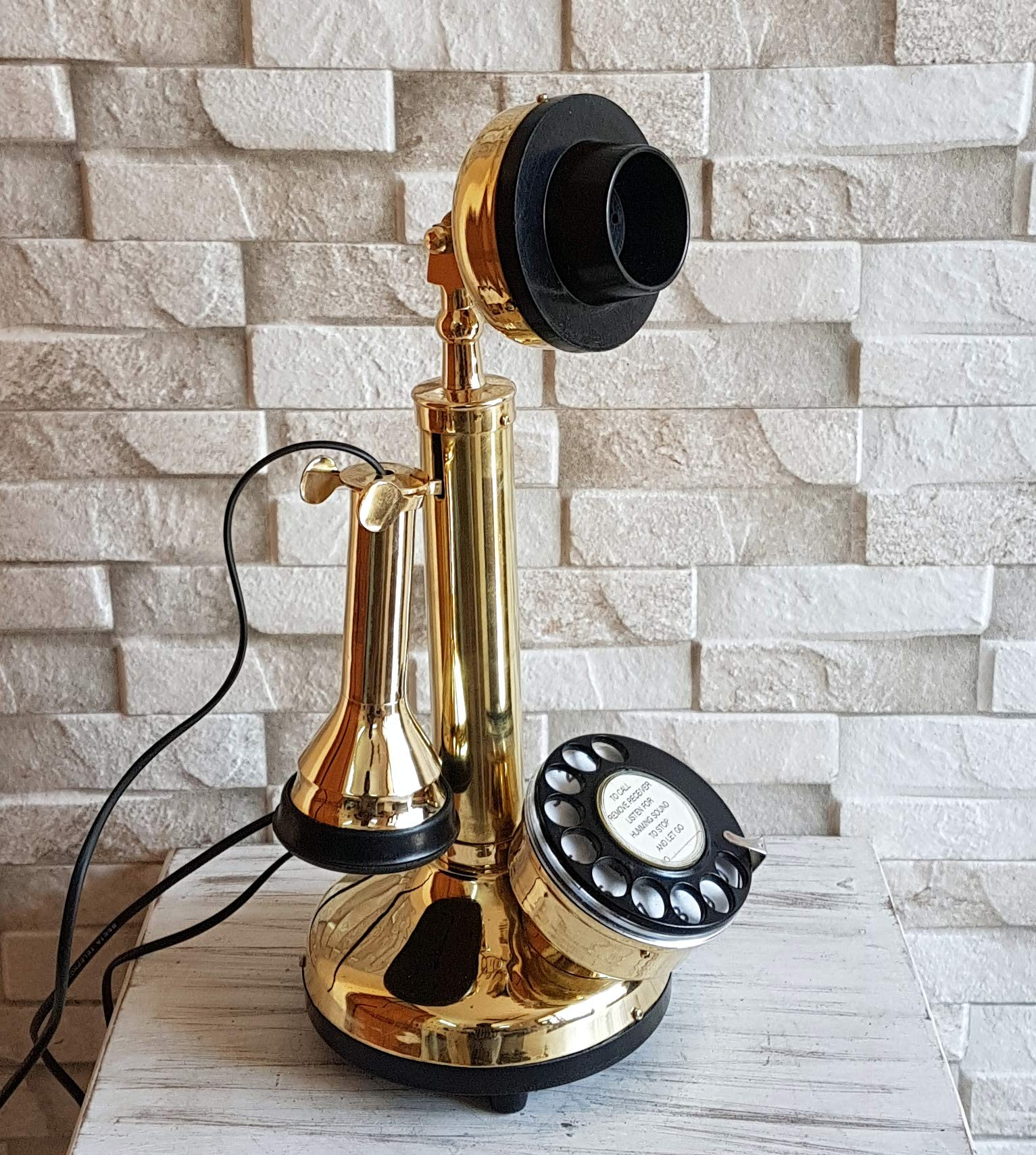 Decor n style store Have one to sell? Sell now - Have one to sell? Details about Antique Reproduction Shinny Brass Working Candlestick Telephone Rotary Dial by Decor n style store