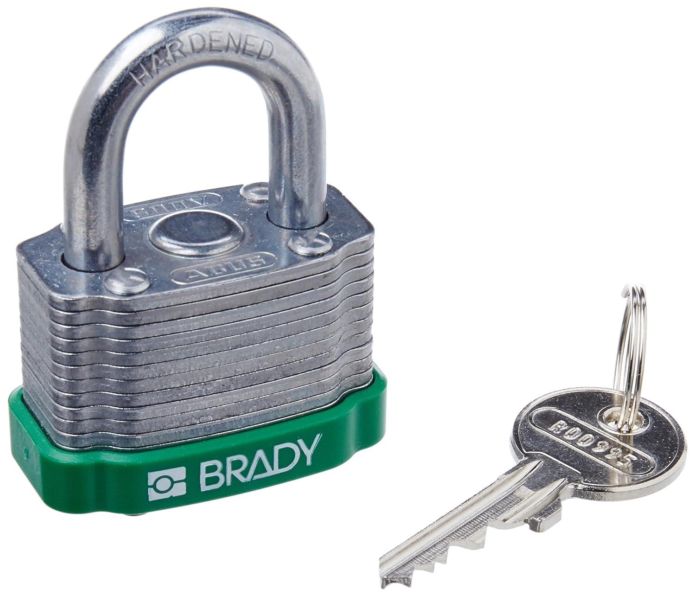 1-5//16 Width Brady 143128 Green Key Retaining Steel Padlock 1-1//5 Height Green