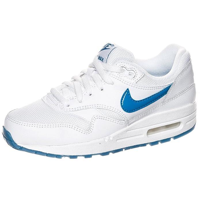 promo code be382 816b7 Nike - AIR MAX 1 GLOW GS - Couleur  Blanc-Bleu - Pointure  38.5EU   Amazon.fr  Chaussures et Sacs