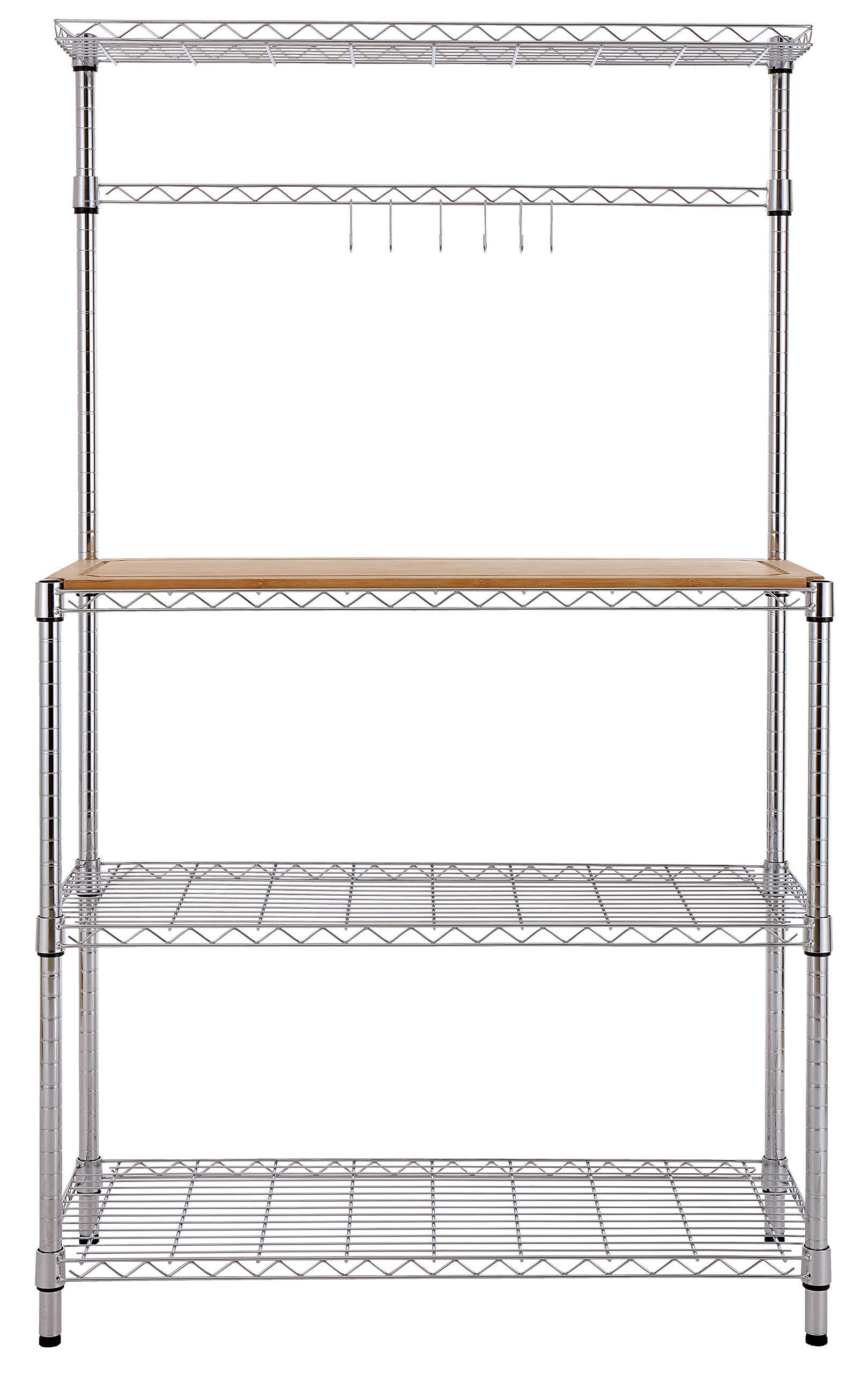 Finnhomy 14x36x61 4-Tiers Adjustable Kitchen Bakers Rack Kitchen Cart Microwave Stand with Chrome Shelves and Thicken Bamboo Cutting Board by Finnhomy (Image #4)