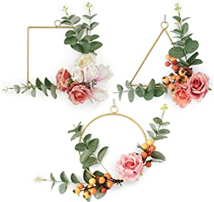 Boho Gold Floral Wreath Wall Hangings Set of 3 Metal Geometric Rings Artificial Eucalyptus Garland Berries & Pink Rose Petals for Wedding Backdrop Room Decor for Teen Girls