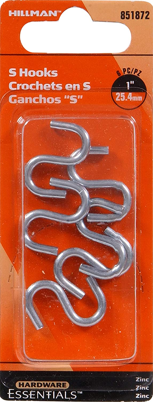 Hillman Hardware Essentials 851872 Zinc S-hooks 0.121 x 1 The Hillman Group