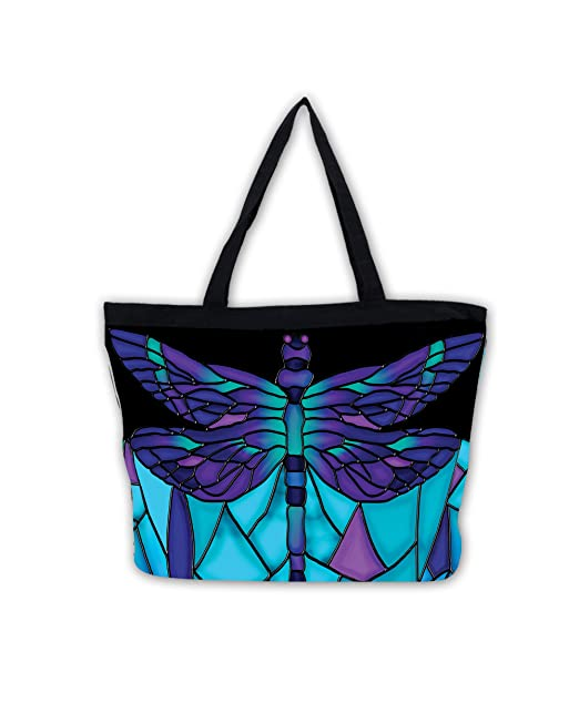 97b1a4aa1325 Galleria Stained Glass Dragonfly Tote Bag