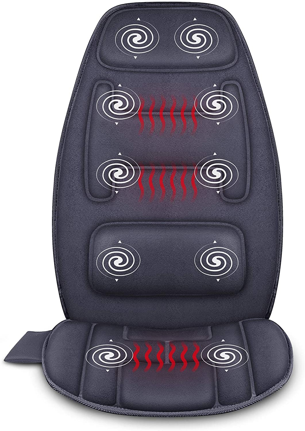 Snailax Massage Seat Cushion with Heat – Extra Memory Foam Support Pad in Neck and Lumbar,10 Vibration Massage Motors, 3 Heating Pad, Back Massager for Back Pain Relief, Massage Chair Pad for Car