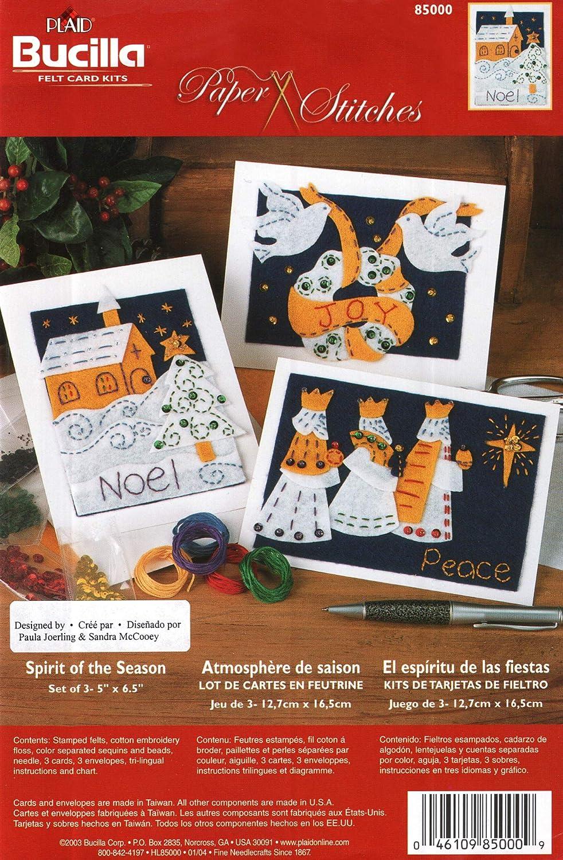 "Bucilla 85000 Christmas Holiday Felt Card Kit""Spirit of The Season"" Felts Sequins Beads Snowflakes Joy Noel Peace - Set of 3 - Cards and Envelopes 5"" x 6.5"""