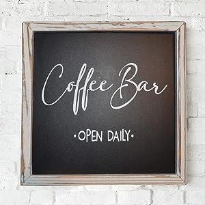 Happy Tangerines – Coffee Bar Sign - Modern Coffee Bar Decor Sign - Rustic Kitchen Sign - Coffee Sign Wall - Coffee Bar Table - Wood Coffee Sign 8x8 Inch