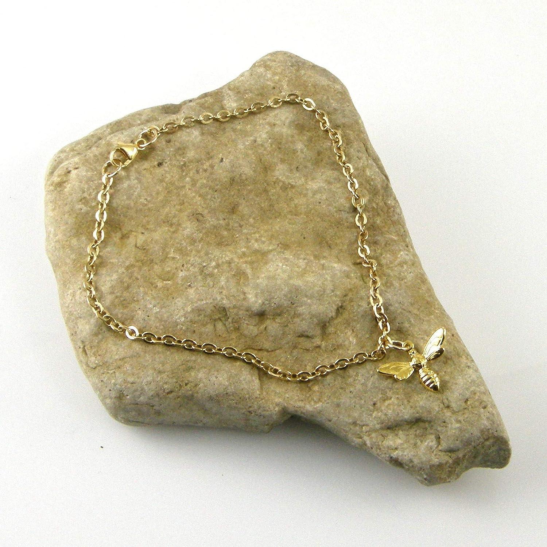Gold Chain Bee Anklet Gold Anklet Bee Ankle Bracelet