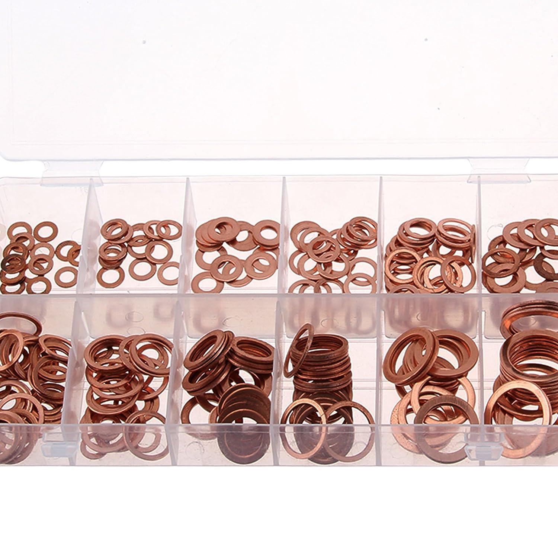 AllRight 280Pcs Flat Washers Solid Copper Sump Plug Assorted Engine 12 sizes Washers oem