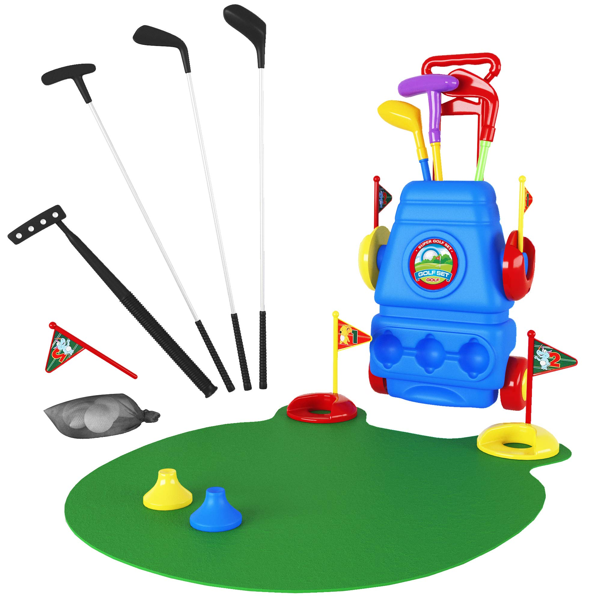 Toy Golf Clubs Set Bundle with Mini Golf Putter and Green Mat, Kids Unbreakable Golf Clubs, Balls and More _ Toys for 3 Year Old Boys and Girls, Outdoor and Learning Toys _ for Toddlers and Juniors by CarsonChase