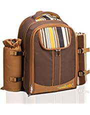 ALLCAMP Picnic Backpack Bag for 4 Person with Cooler Compartment, Detachable Bottle/Wine Holder, Fleece Blanket, Plates and Cutlery (Brown)