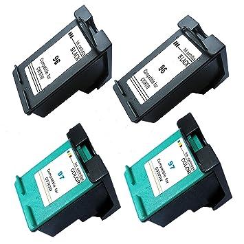 4 inx - Cartucho de tinta remanufacturado de repuesto para HP 96 y ...