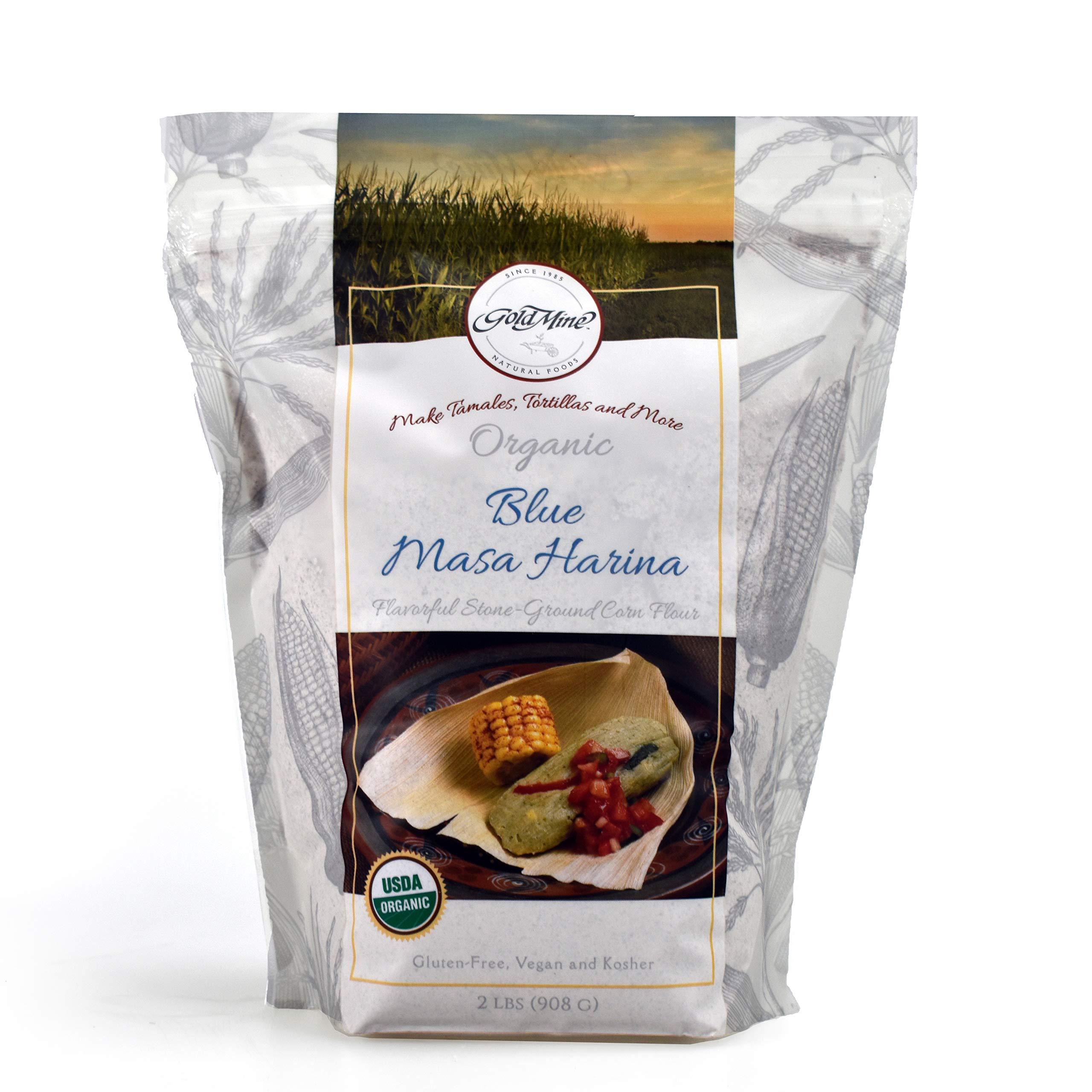 Gold Mine Blue Corn Masa Harina - USDA Organic - Macrobiotic, Vegan, Kosher and Gluten Free Flour for Healthy Mexican Dishes – 2 LBS