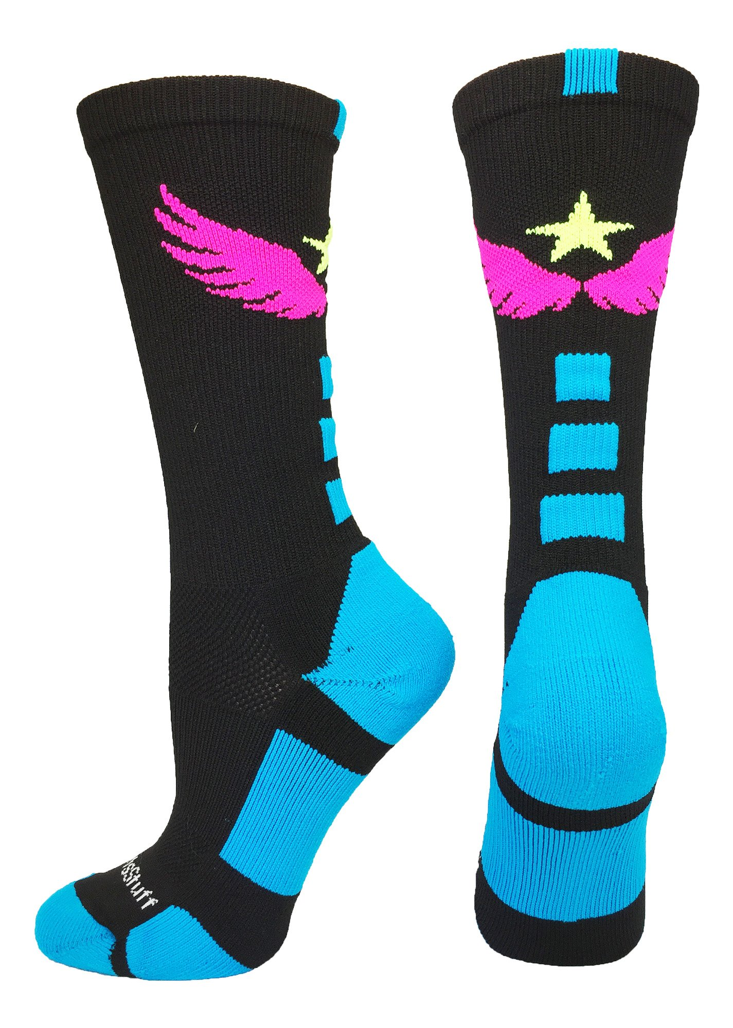 MadSportsStuff Light Speed Athletic Crew Socks (Black/Electric Blue/Neon Pink/Neon Yellow, Medium) by MadSportsStuff
