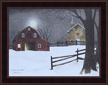 A Light in The Stable by Billy Jacobs 15×19 Red Barn Full Moon Stone House Snow Snowing Winter Christmas Framed Folk Art Print Picture Country Black Woodtone