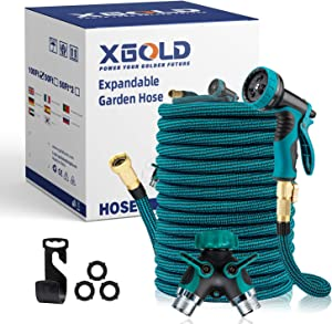 XGOLD Expandable Retractable Garden Hose 100 Ft with 9 Function Water Spray Nozzle, Triple Latex Core & Car Wash Hose with Solid Non Rust Brass Connector, 2-Way Flexible Splitter