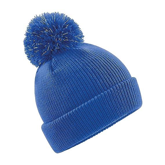 Beechfield - Gorro con pompón para niños (One Size Azul eléctrico ... 8389af91175
