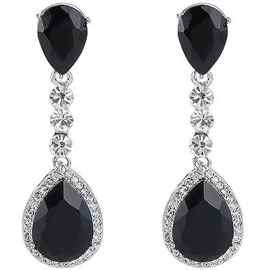 f27a95081 BriLove Wedding Bridal Dangle Earrings for Women Crystal Teardrop Infinity  Figure 8 Chandelier Earrings Black Silver