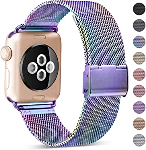 KOLEK Metal Band Compatible for Apple Watch Band 38mm 40mm 42mm 44mm, Stainless Steel Mesh Loop Adjustable Wristband for iWatch Series 6/SE 5 4 3 2 1 Women Men, Colorful