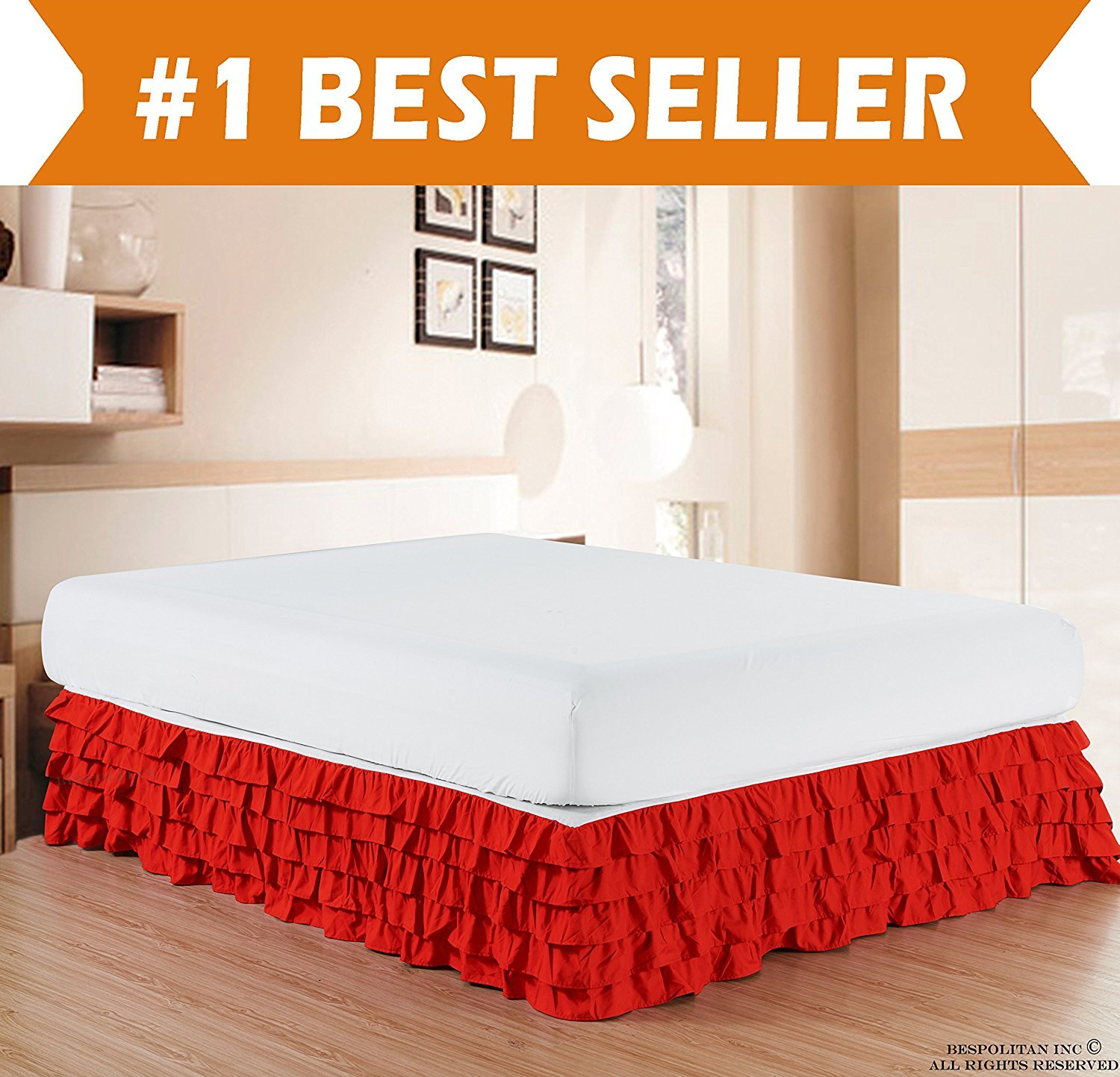 Microfiber Multi-Ruffle Bed Skirt - 15inch Drop, Full , Red