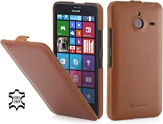 StilGut® UltraSlim Case, Custodia in Pelle per Microsoft Lumia 640 XL, Cognac