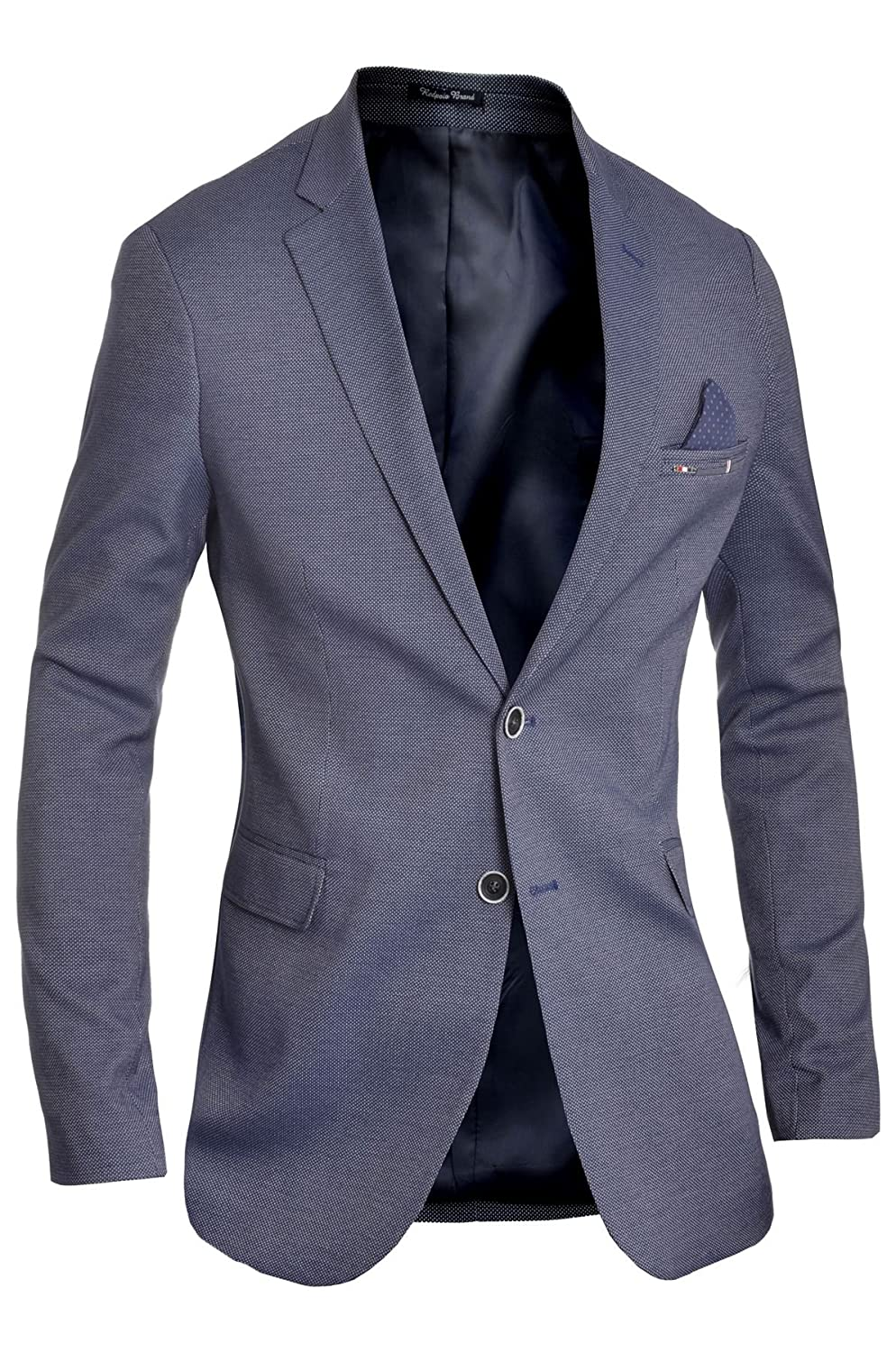Men's Classic Design Blazer Jacket Blue Casual Contrast Finish Slim Soft Cotton D&R Fashion