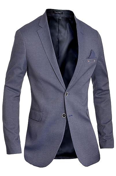 D&R Fashion Blazer de diseño clásico para Hombre Chaqueta Azul Casual Contraste de Acabado Delgado Algodón