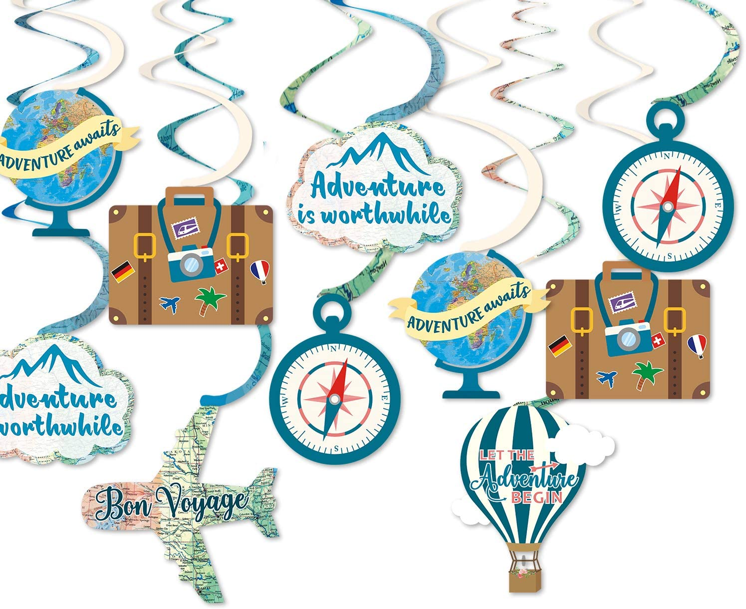 30CT Travel Themed Hanging Swirl Decorations Adventure Awaits Bon Voyage Farewell Retirement Themed Party Spiral Supplies Around the World Wedding Shower Party Ceiling Door Whirls Streamers Supplies