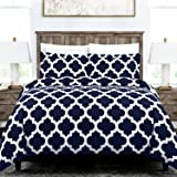 Egyptian Luxury Quatrefoil Duvet Cover Set - 3-Piece Ultra Soft Double Brushed Microfiber Printed Cover with Shams -Full/Queen - Navy/White