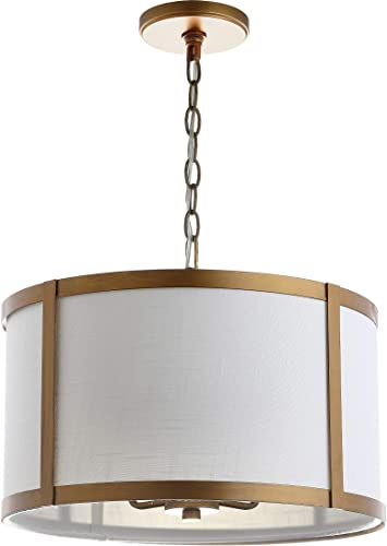 JONATHAN Y JYL3510B Thatcher 17 Metal LED Pendant Light, Traditional, Transitional for Kitchen, Living Room, Gold