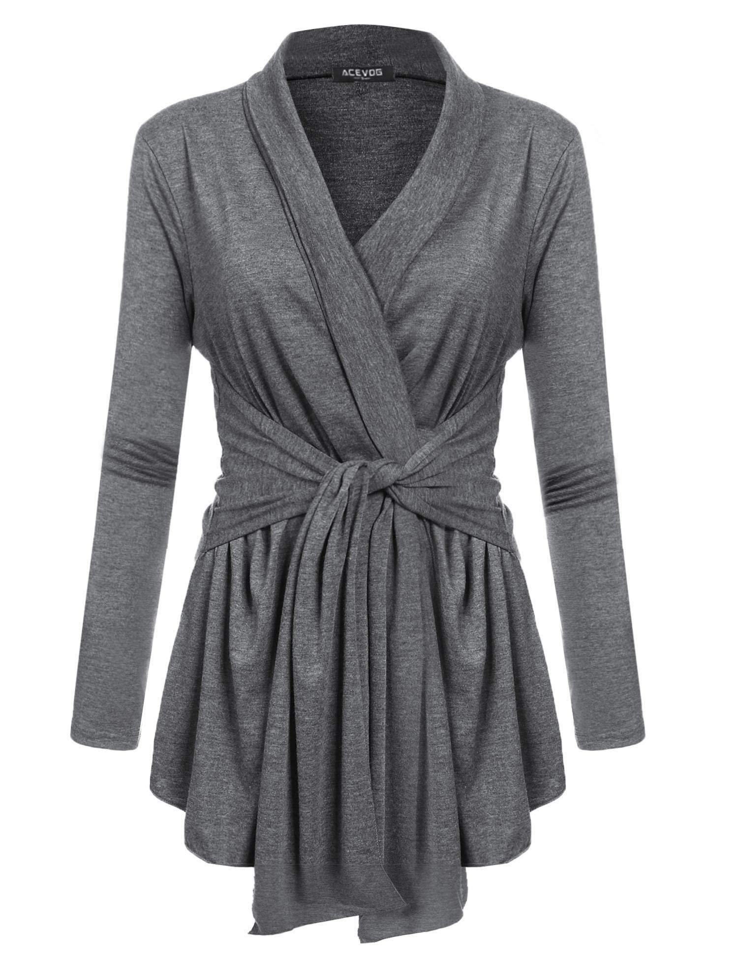 ACEVOG Womens Open Front Drape Hem Lightweight Long Sleeve Knit Cardigan (S-3XL) Dark Grey M