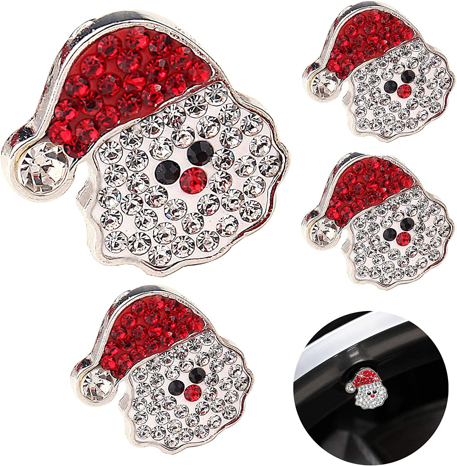 JOJOY LUX 4 Pack Valve Stem Caps, Handmade Crystal Rhinestone Universal Car Tire Valve Caps,Holiday Unique Decor Santa Hat Xmax Decorations Ornament for Tire
