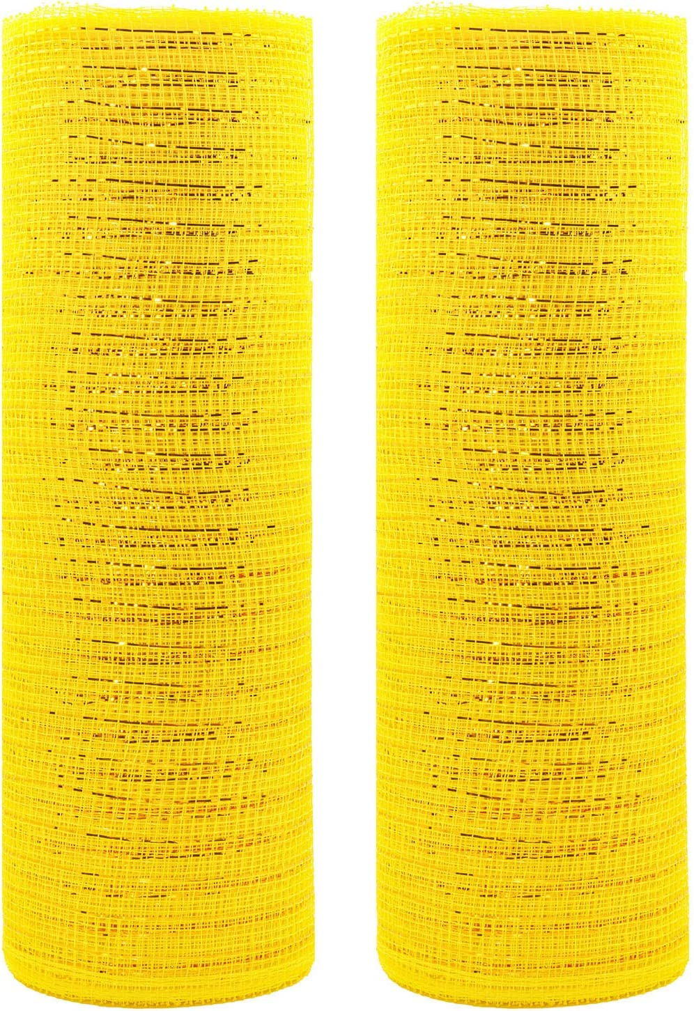Acekit Deco Poly Mesh Ribbon with Metallic Foil 10 inch x 30 feet Each Roll for Wreaths, Swags Bows Wrapping and Decorating Projects-2 Rolls(Yellow+Yellow)