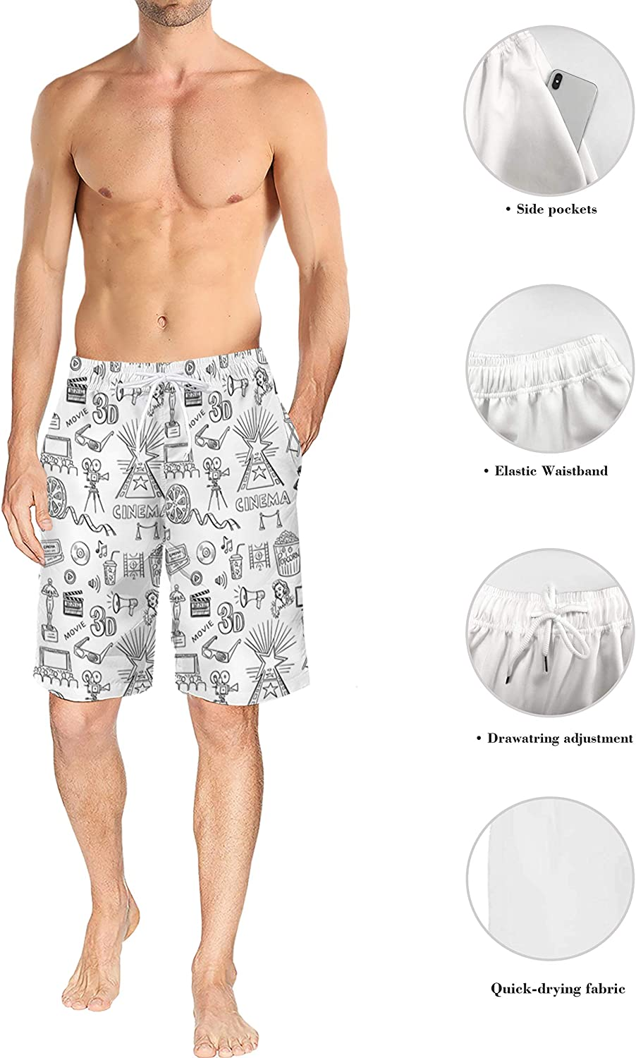Surf Beach Pants with Mesh Lining Strawberry Berry Fantasy Star Mens Lightweight Slim Fit Quick Dry Beach Shorts