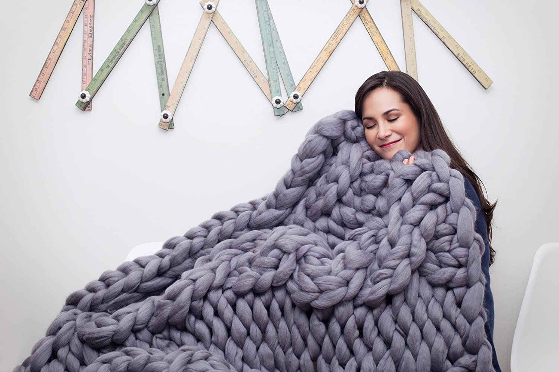 Giantニット毛布。メリノウール毛布。Super Chunkyメリノウール毛布。アームニットブランケット B06WLGVG12