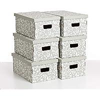 Kanguru Set De Seis Cajas De Almacenamiento En Cartón, UNDUETRE FLORAL - SET 2 PEZZI, Modelo Básico, Tamaño Grande…