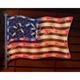 """15"""" Lighted Patriotic Fourth of July American Flag Window Silhouette Decoration"""