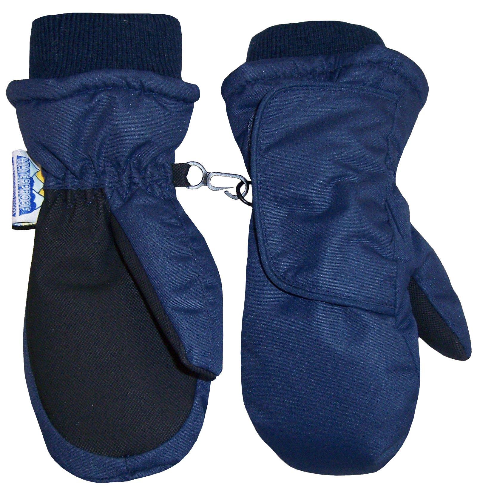 N'Ice Caps Kids Easy On Thinsulate Waterproof Wrap Mitten (6-8 Years, Navy/Black)