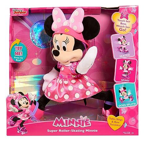 amazon com minnie super roller skating plush pink toys games