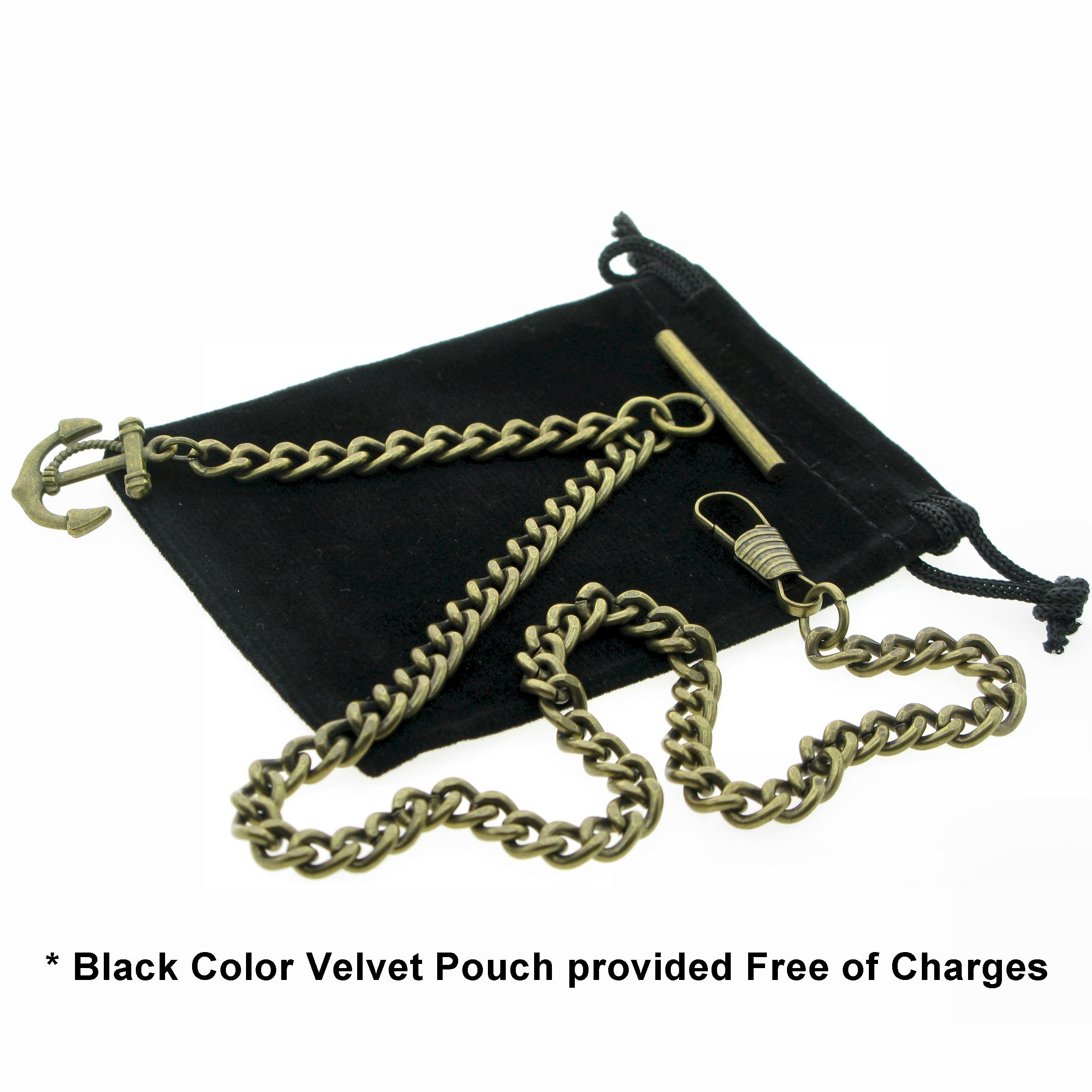 Albert Chain Pocket Watch Curb Link Chain Antique Brass Plating Anchor Fob T Bar AC24 by watchvshop (Image #2)
