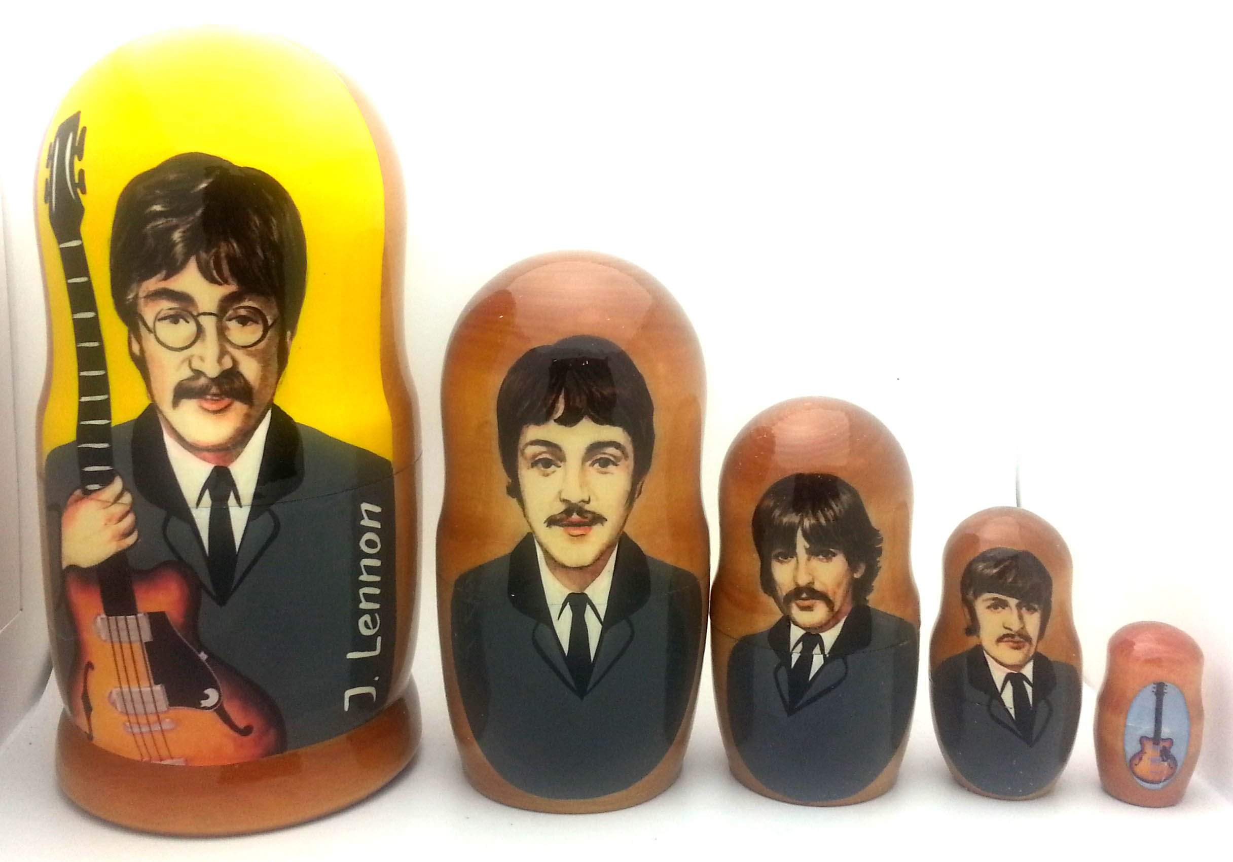 Beatles Russian Nesting dolls 5 piece DOLL Set 7'' Tall by BuyRussianGifts (Image #1)