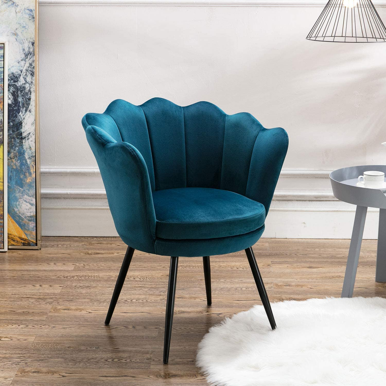 Velvet Accent Chair for Living Room/Bed Room, Upholstered Mid Century Modern Leisure Arm Chair with Black Metal Legs, Guest Chair, Vanity Chair(Teal Blue)