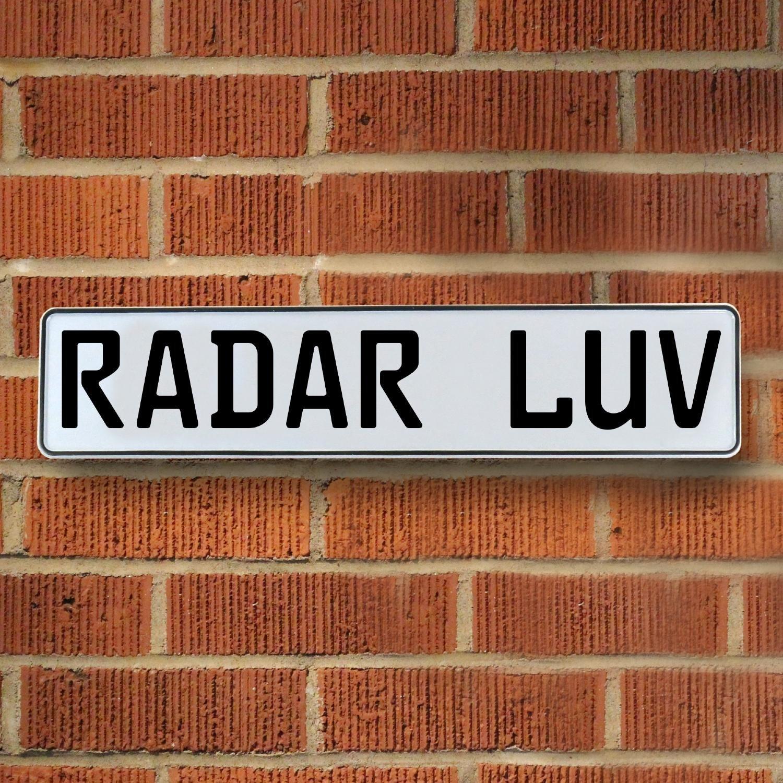 Vintage Parts 335023 Radar LUV White Stamped Street Sign Mancave Wall Art