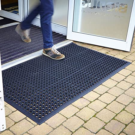Large Outdoor Rubber Entrance Mats Anti Slip Drainage Door Mat Flooring   3  Sizes Available (